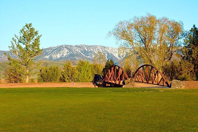Golf course with bridge