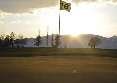 Golf Course with sun setting